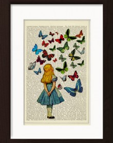 Alice In Wonderland Watching Butterflies Print