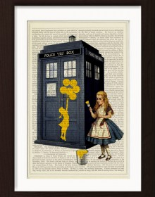 Alice Paints Banksy's Girl With Balloons On Tardis Police Box Print