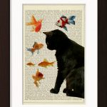 Black Cat Watching Goldfish And Fantails print