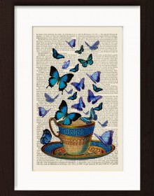 Blue butterflies on blue cup print