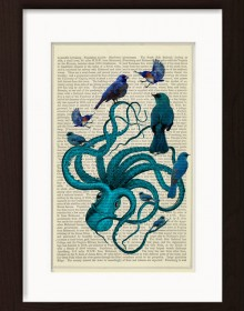 Blue Octopus With Collection Of Blue Birds print