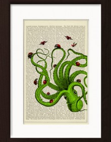 Green Octopus With Collection Of Ladybirds And Ladybugs print