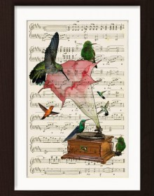 Hummingbirds With Altered Art Gramophone print