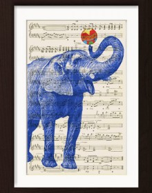 Blue Elephant With Ball print
