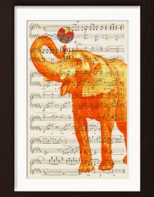 Orange Elephant With Ball print