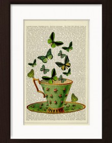 Green Butterflies On Green China Cup print