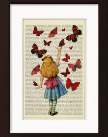 Alice In Wonderland Releases Clourful Butterflies Print