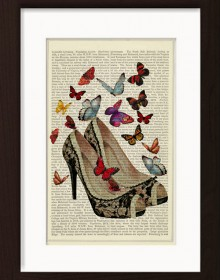 Butterflies With Vintage Shoes print