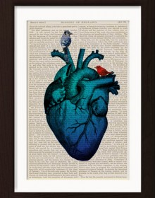 Anatomical Blue Heart With Birds print