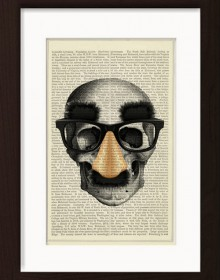Anatomical Skull With Groucho Mask print