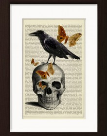 Anatomical Skull With Raven And Butterflies print