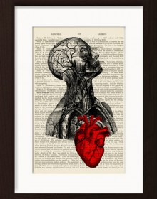 Anatomical Head With Muscles And Red Heart print