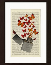 Butterfly With Zippo Lighter print