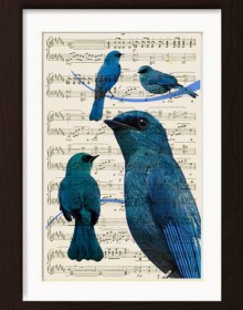 Blue Birds On Music Sheet print