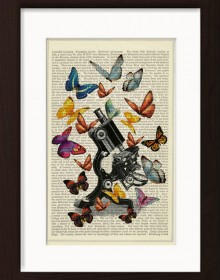 Butterflies On Vintage Microscope print