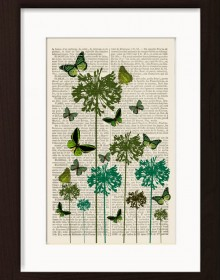 Green Butterflies On Green Flowers print