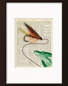 Flying Fish With Trout Fly print