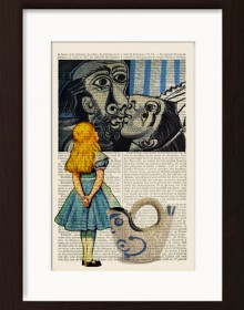Alice Meets Pablo Picasso's The Kiss Print