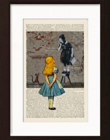 Alice Meets Banksys Girl With Rat Print
