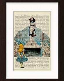 Alice Meets Banksys Girl On The Catwalk Print