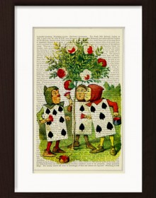 Alice Adventures In Wonderland Meets The Playing Cards Painting White Roses Print