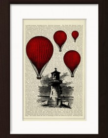 Red Hot Air Balloons Over Coastal Light House print