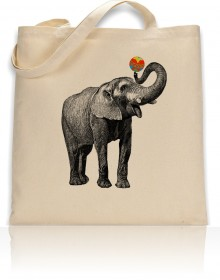 Tote Bag Elephant With Ball Print
