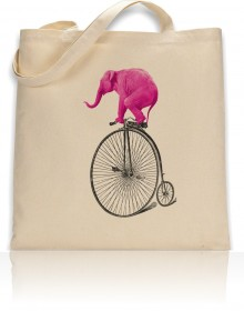 Tote Bag Pink Elephant On Bike Print