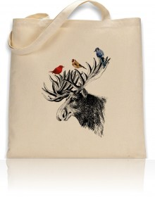 Tote Bag Moose Head With Colorful Birds Print