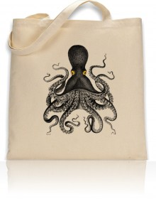Tote Bag Octopus With Yellow Eyes Print