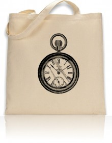 Tote Bag Pocket Watch Print