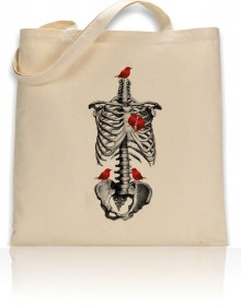 Tote Bag Anatomical Rib Cage With Red Birds Print