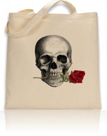 Tote Bag Anatomical Skull With Red Rose Print