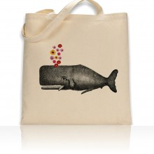 Tote Bag Whale With Flowers Print