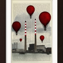 Red Balloons over Dublin Poolbeg Power Station Mixed Media Print