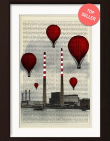 Red Balloons Dublin Poolbeg Power Station Mixed Media Print